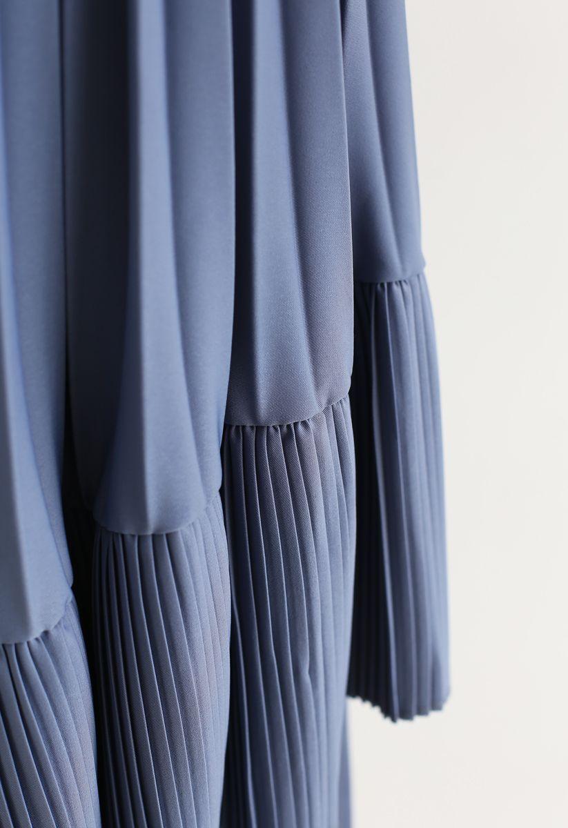 Asymmetrischer Saum-Falten-Midirock in Blau