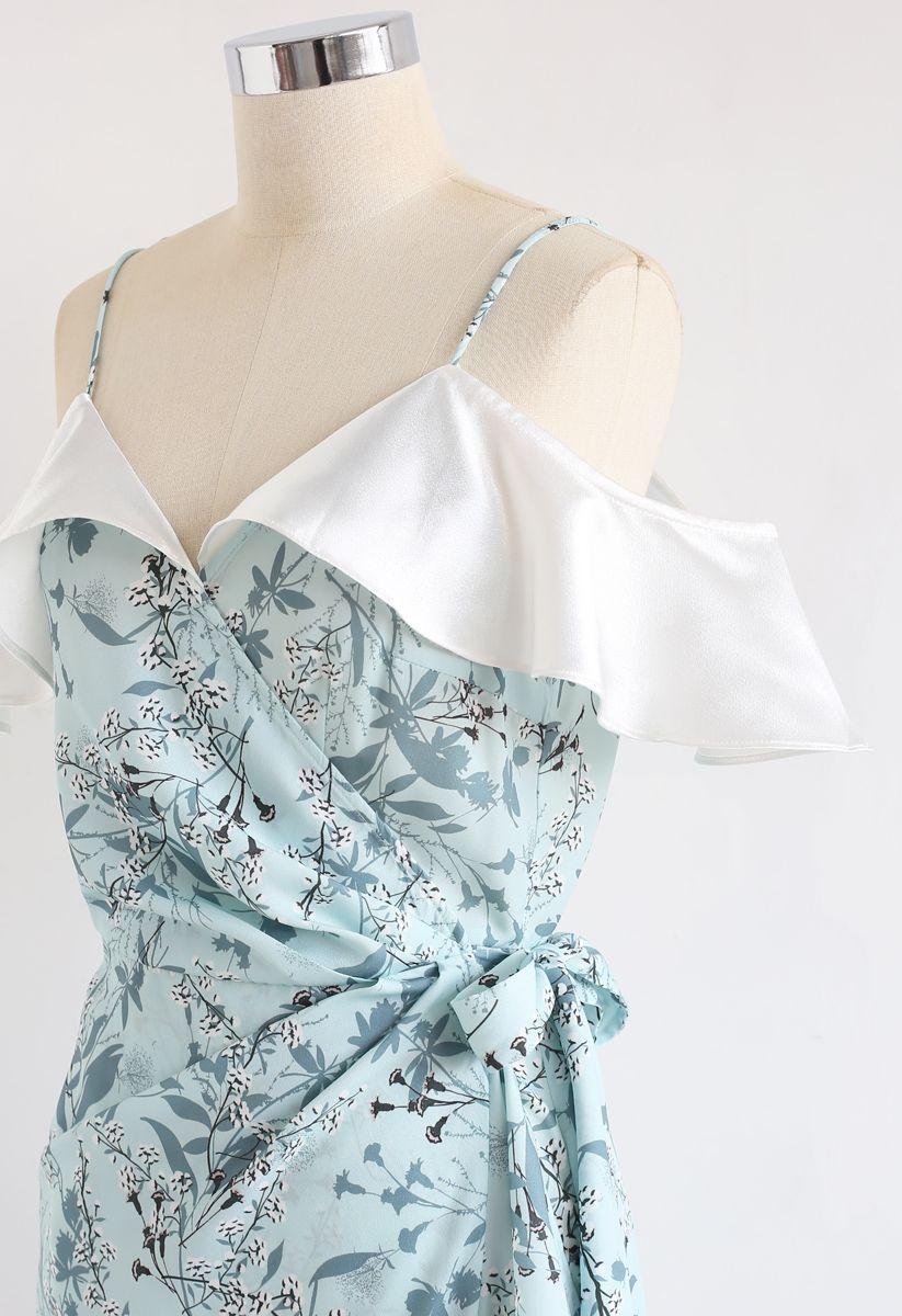 Greenery Floret Print Rüschen gewickelt Cami Kleid