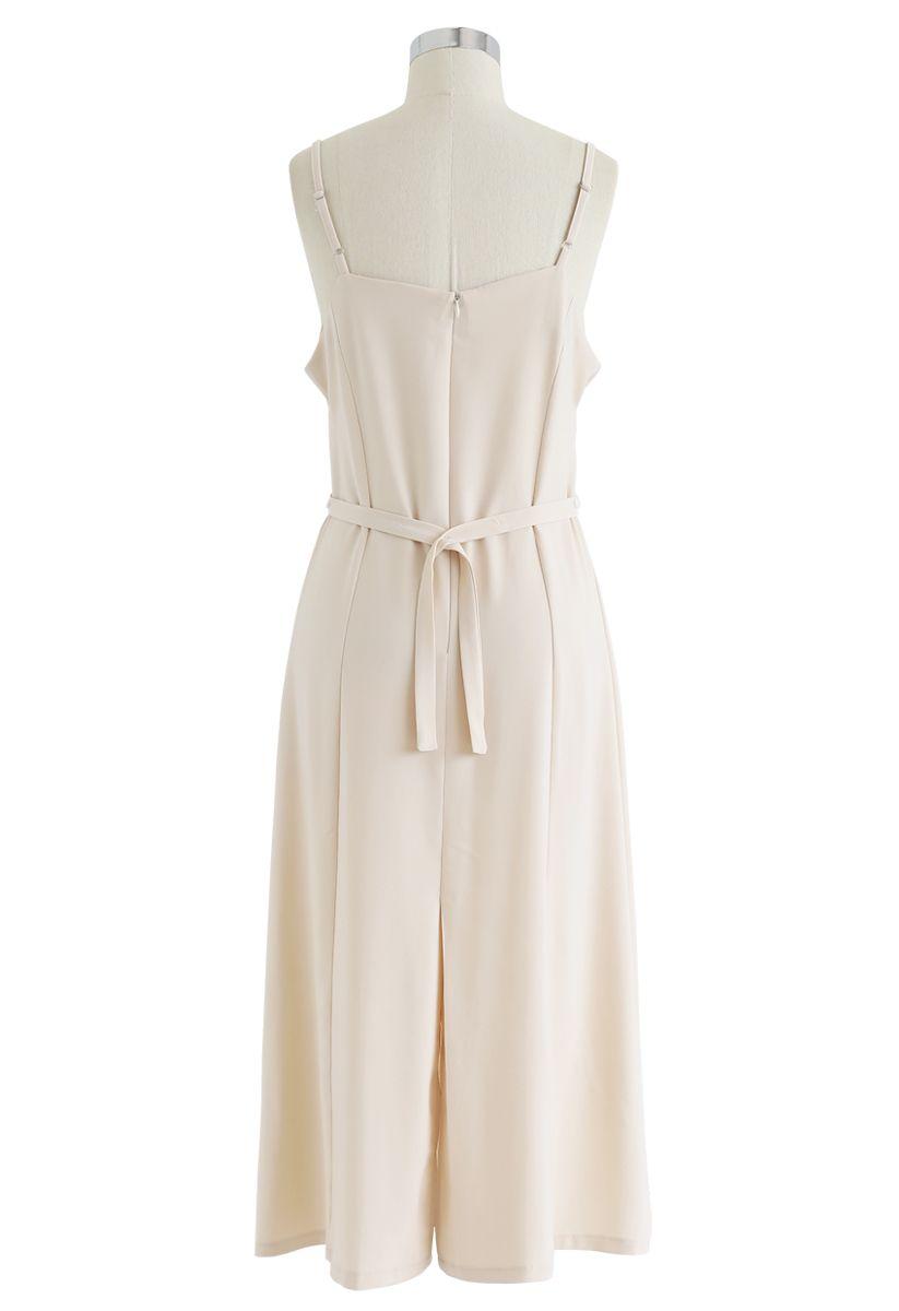 Split Shift verstellbares Cami-Kleid in Creme