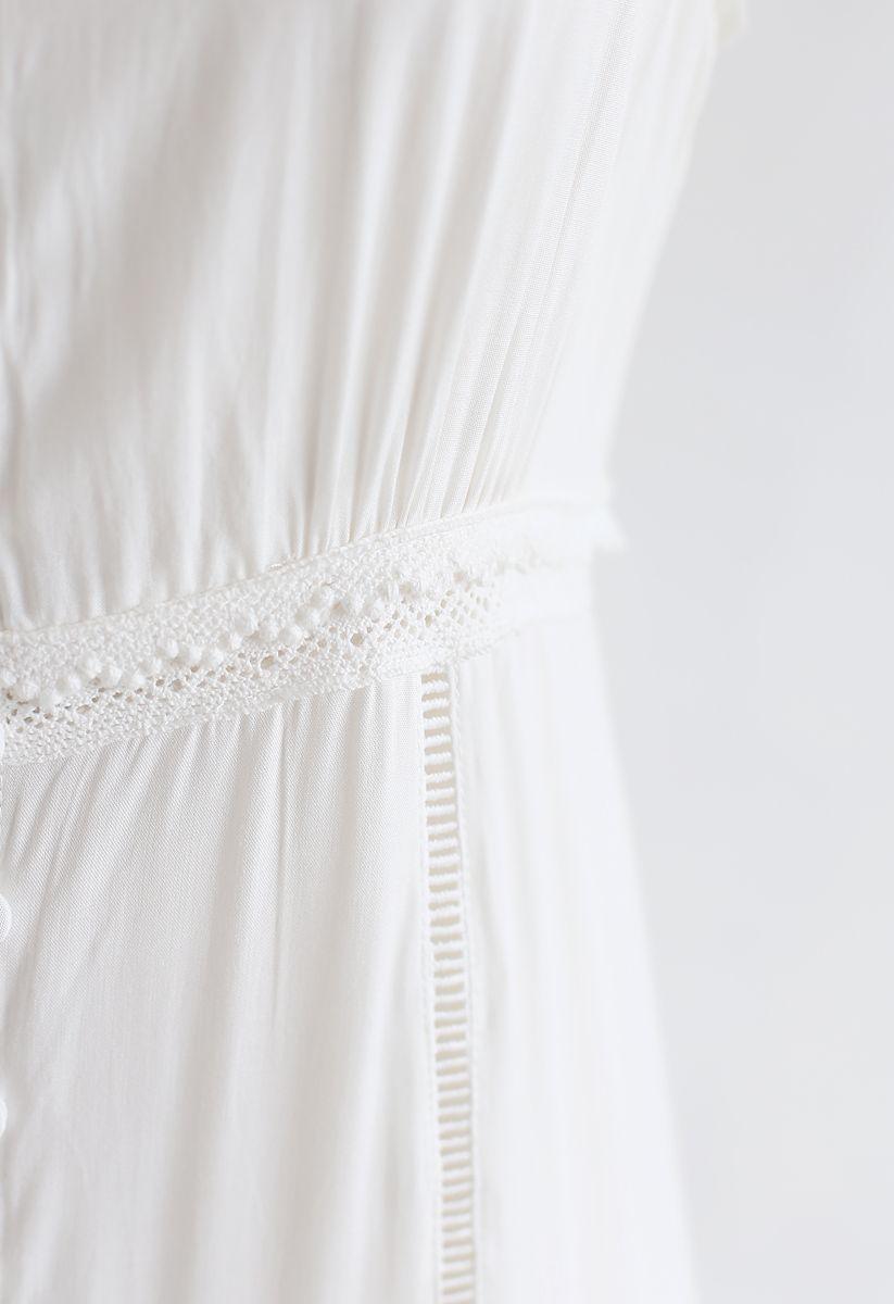 Häkelborte Getäfeltes ärmelloses Maxikleid mit Knopfleiste in Weiß