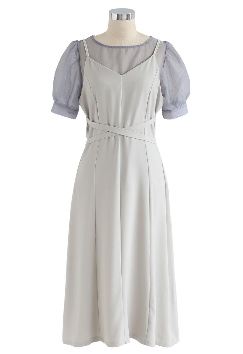 Split Shift verstellbares Cami-Kleid in Erbsengrün