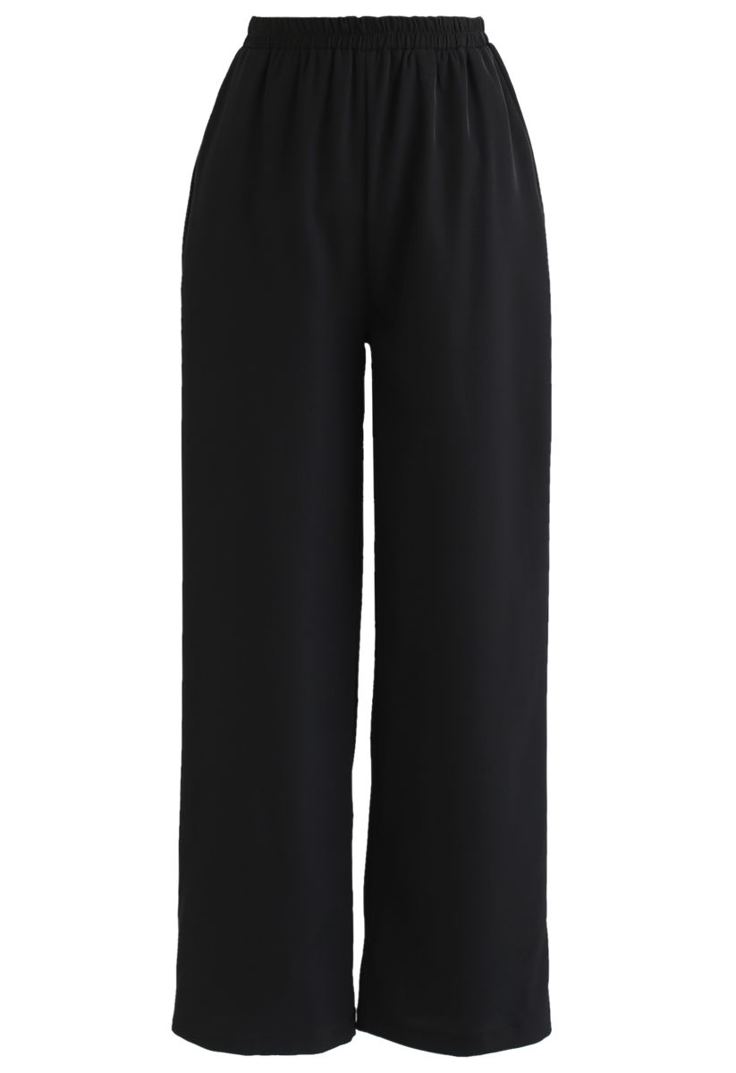 Verstellbares Cami Tank Top und Wide-Leg Crop Pants Set in Schwarz