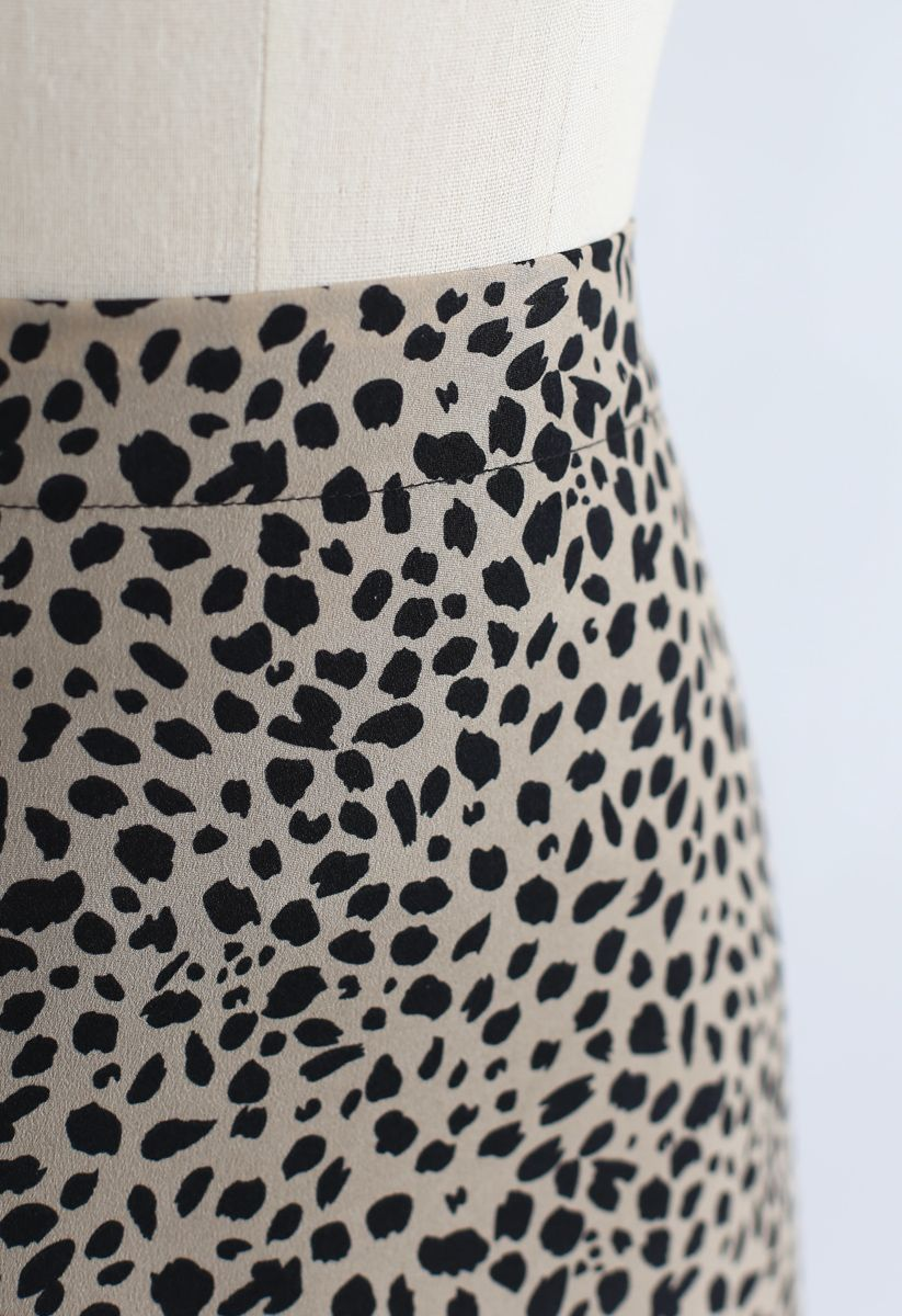 A-Linien Midirock mit Leopardenmuster