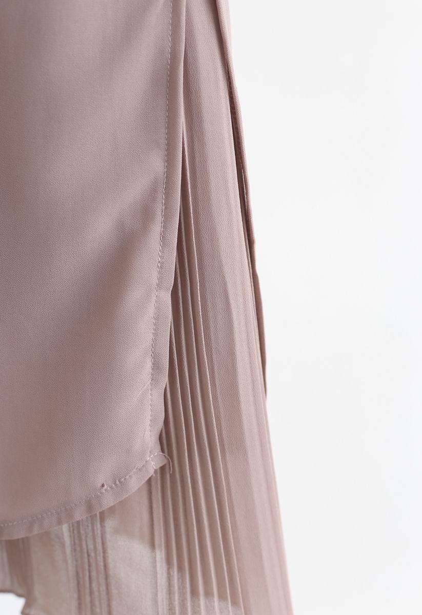 Split Plissee Hem Crop Chiffonhose in Dusty Pink