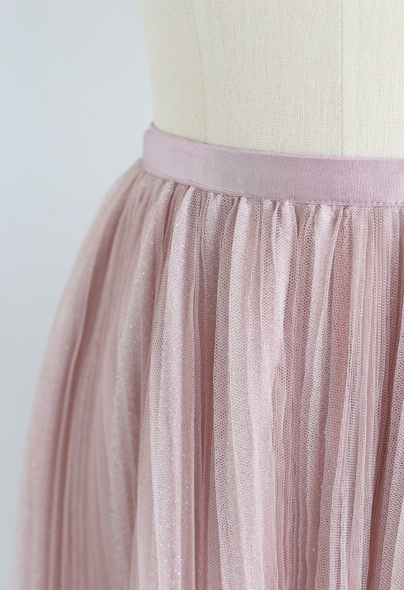 Glitzernder Mesh-Plissee-Midirock in Pink