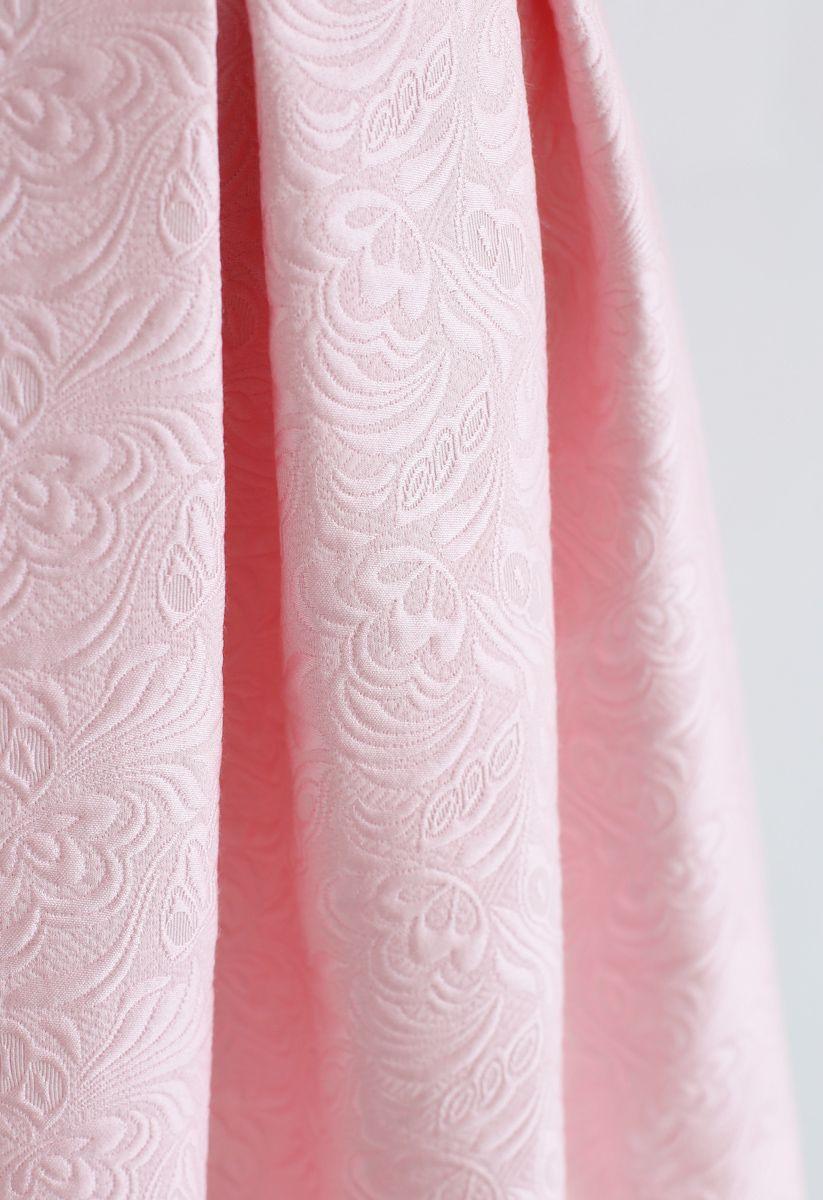 Bowknot Plissee Jacquard Midirock in Pink