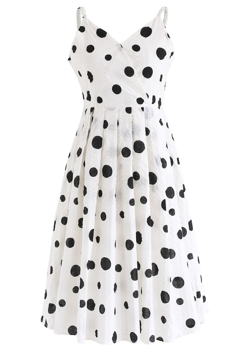 Punkte gedruckt Plissee Cami Kleid