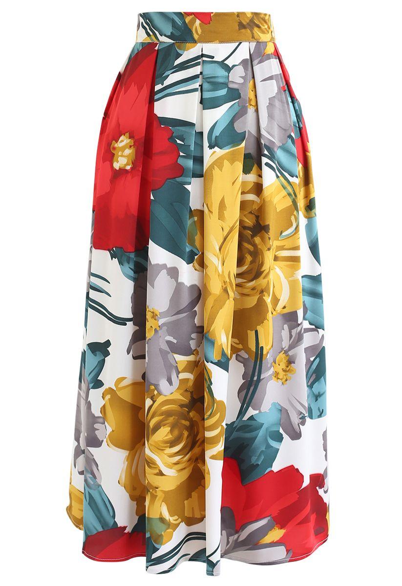 Brilliant Floral Print Pleated Midi Skirt