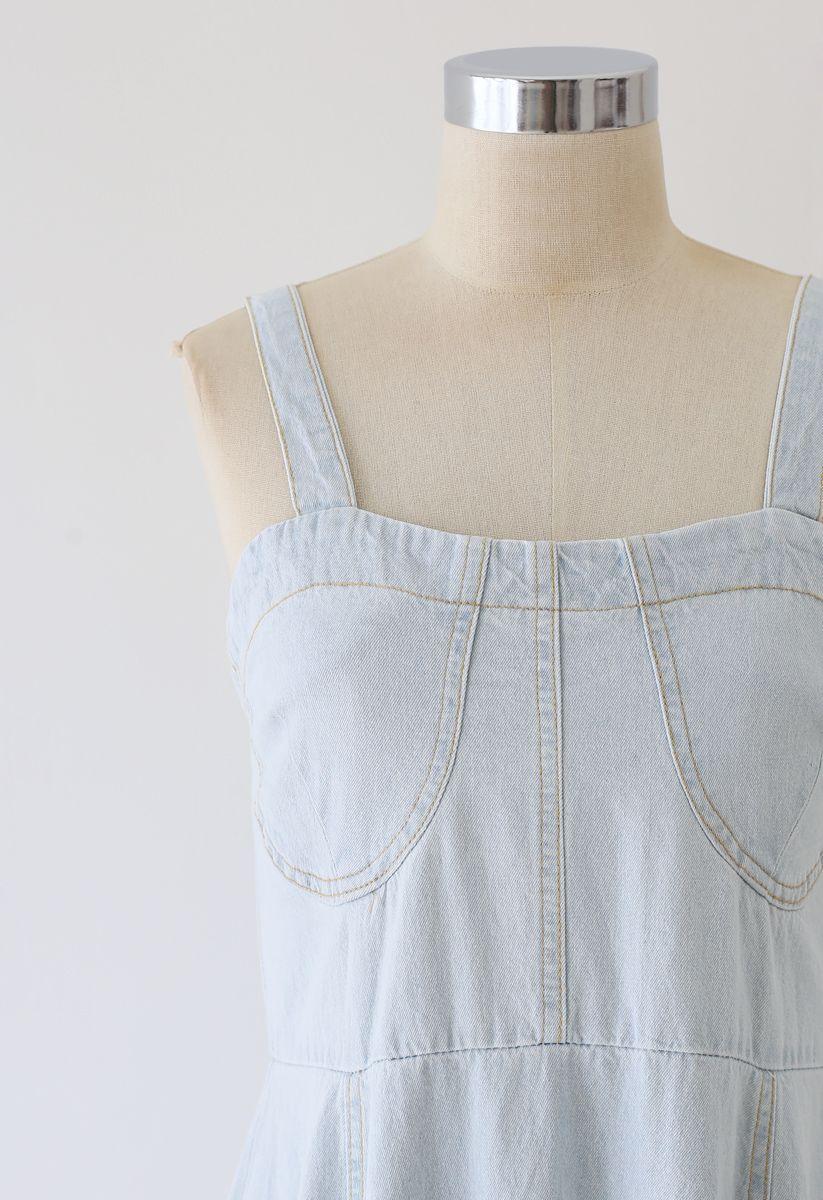 Flare Seam Detail Denim Cami Dress