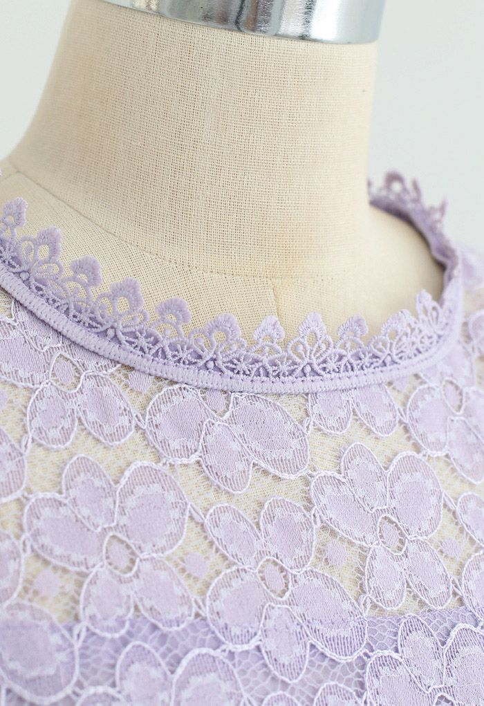 Flower-Covered Lace Top in Lilac