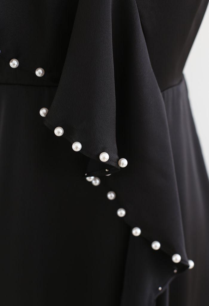 Pearl Trims Ruffle Asymmetric Cami Dress