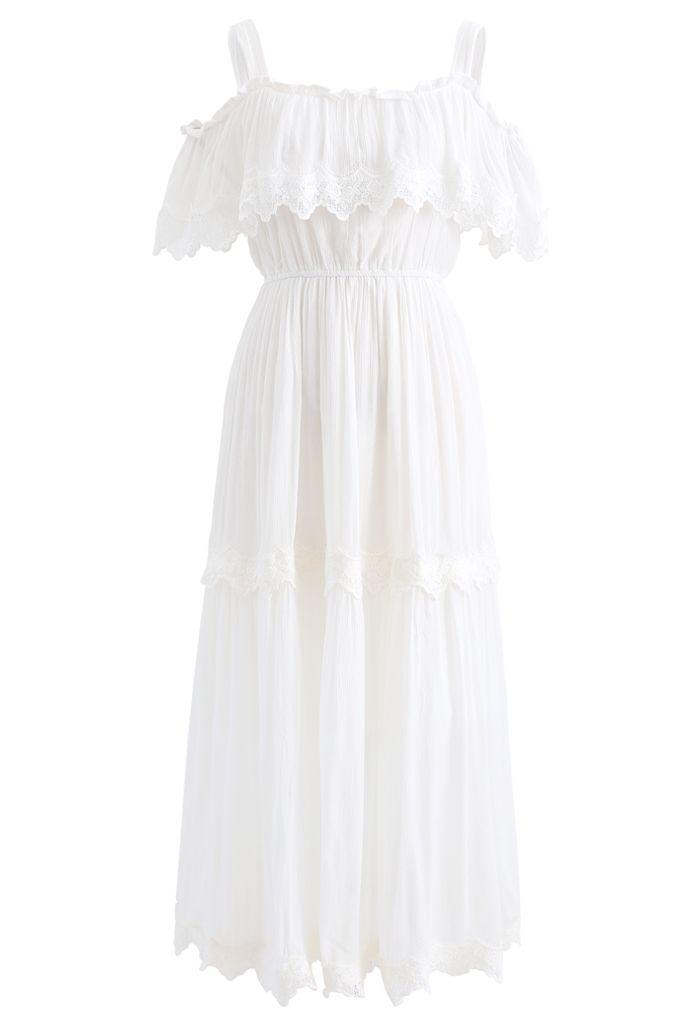 Crochet Trim Cold-Shoulder Dress in White