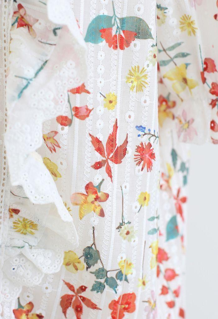V-Neck Eyelet Floral Print Embroidered Top in Red