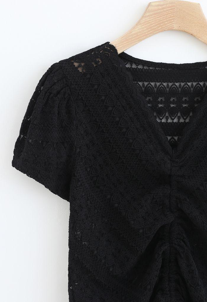 Drawstring Wavy V-Neck Lace Top in Black