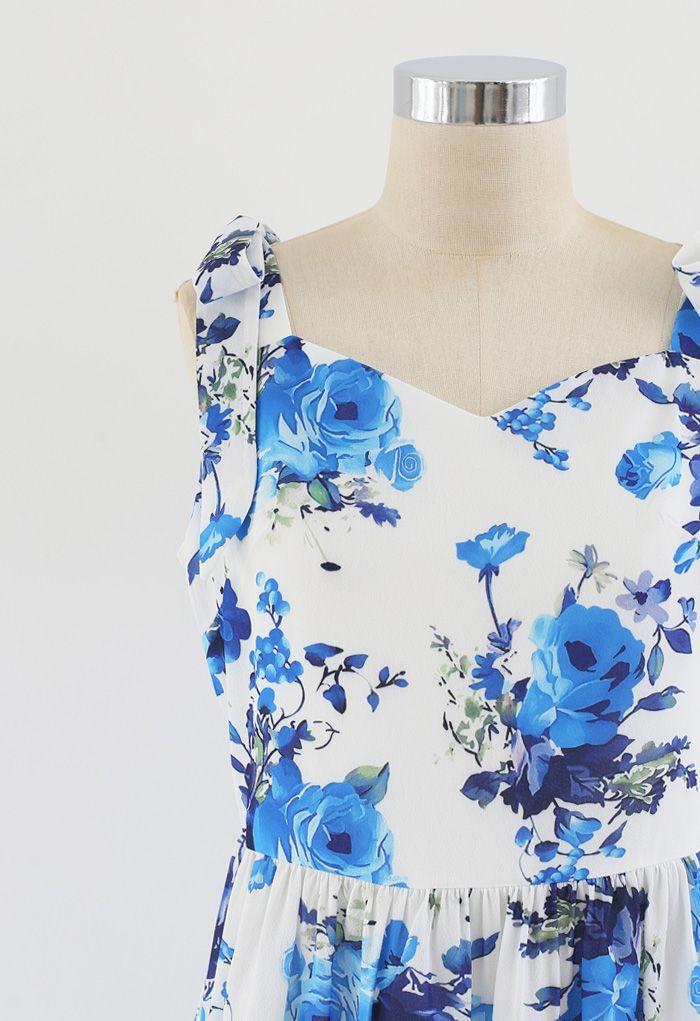 Floral Print Tie Shoulder Midi Dress