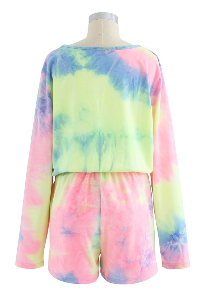 Multi Colored Tie-Dye Long Sleeves Top and Drawstring Shorts Set