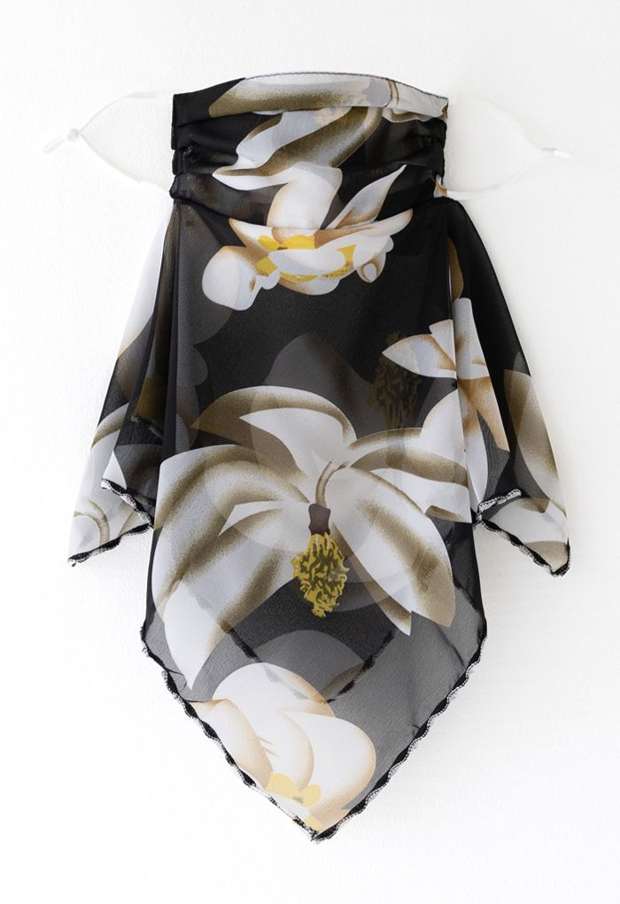 Floral Print Chiffon Sun Protection For The Face in Black