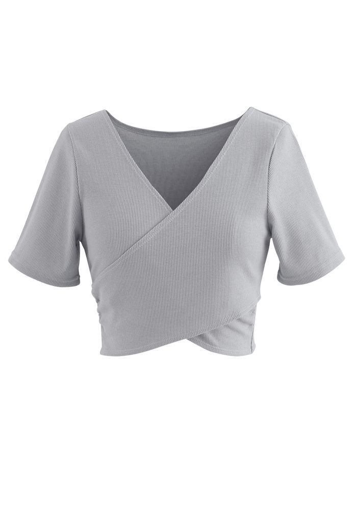 Crisscross Front Short Sleeves Ribbed Top in Grey