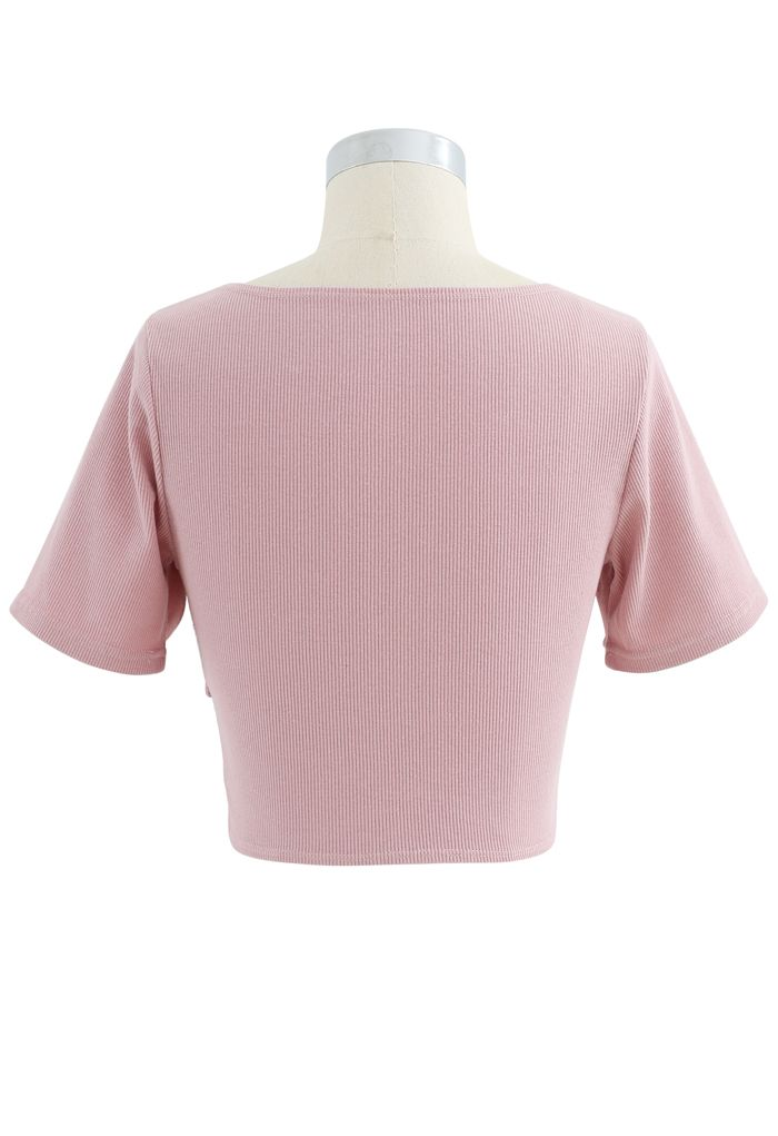 Crisscross Front Short Sleeves Ribbed Top in Pink