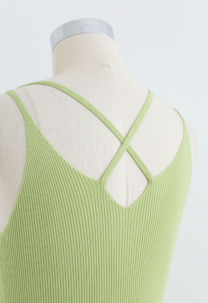 Fitted Ribbed Knit Cami Dress in Lime
