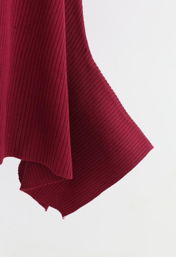 Asymmetric Hem Ribbed Knit Cami Dress in Red