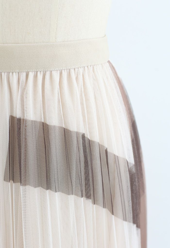 Color Block Double-Layered Mesh Skirt in Tan
