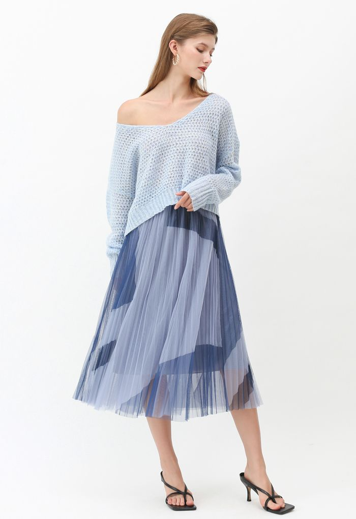 Color Block Double-Layered Mesh Skirt in Dusty Blue