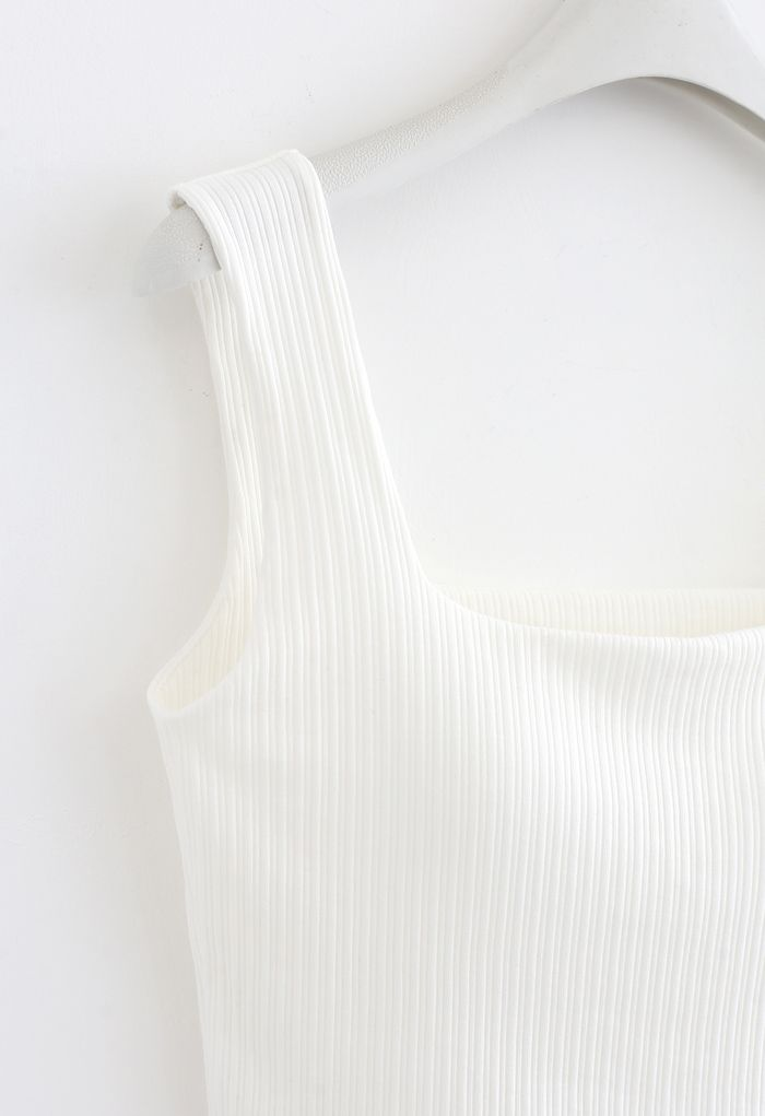 Simple Lines Bandeau Tank Top in White