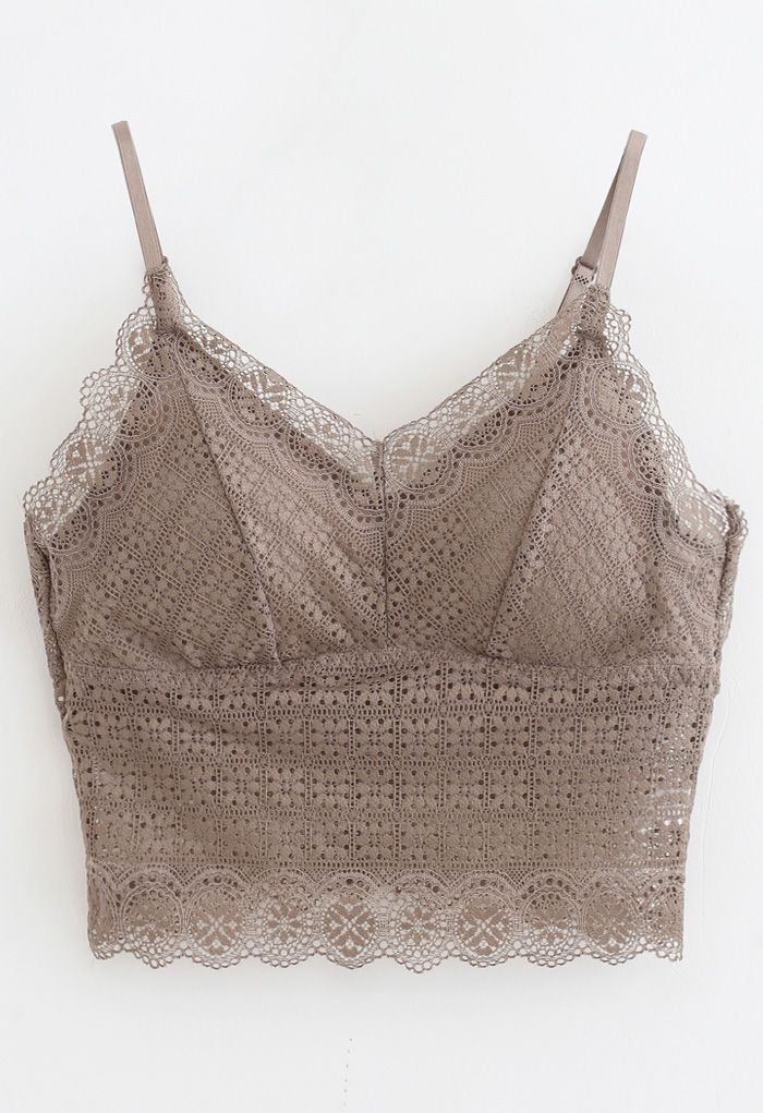 Floret Lace Cami Bustier Top in Taupe