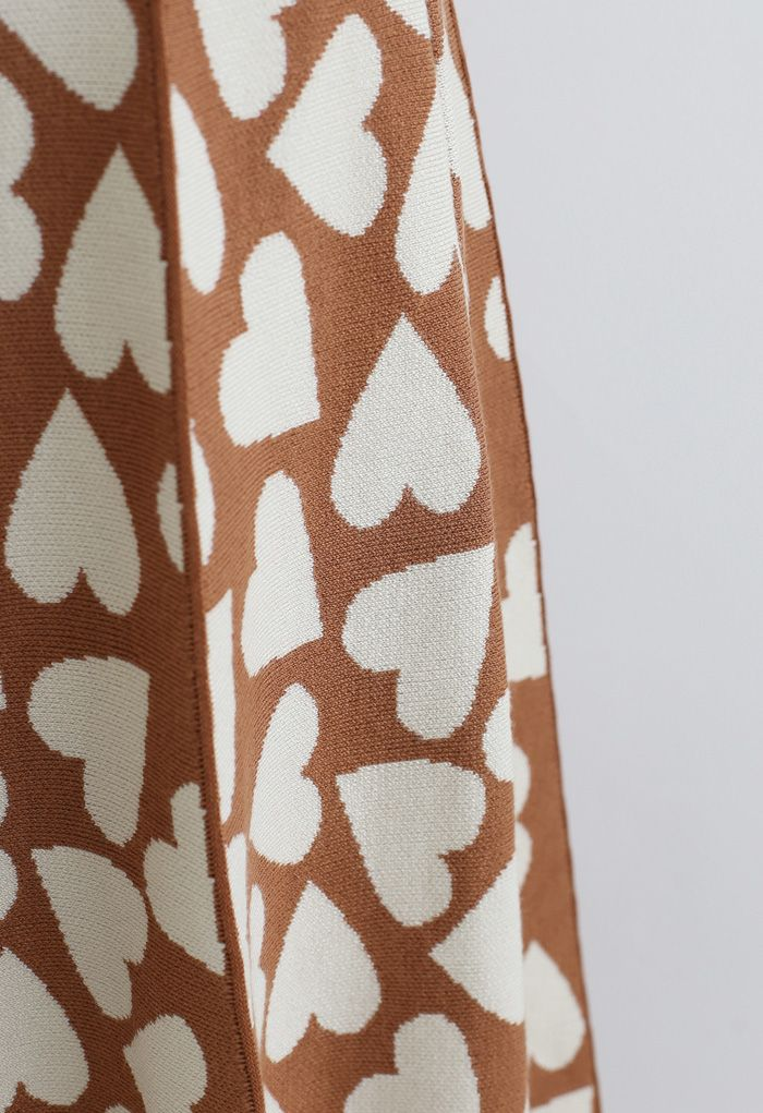 Full of Love A-Line Knit Midi Skirt in Caramel