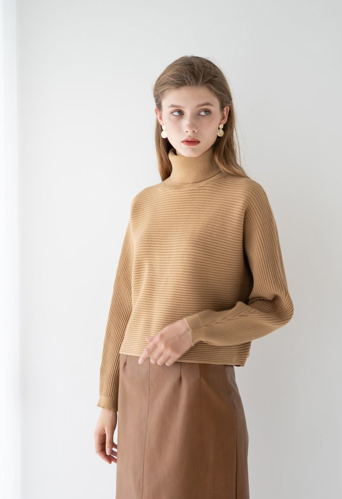 Basic Rib Knit Cowl Neck Crop Sweater in Caramel