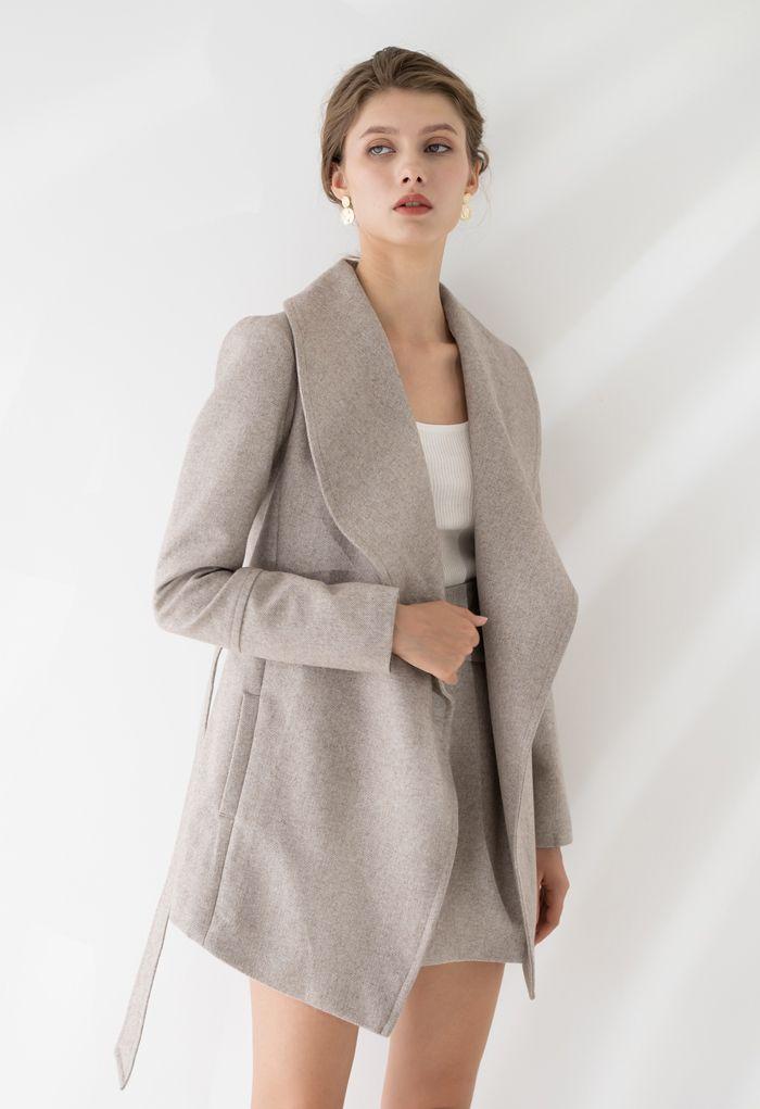 Rabato Wrap Belted Wool-Blend Coat in Light Tan