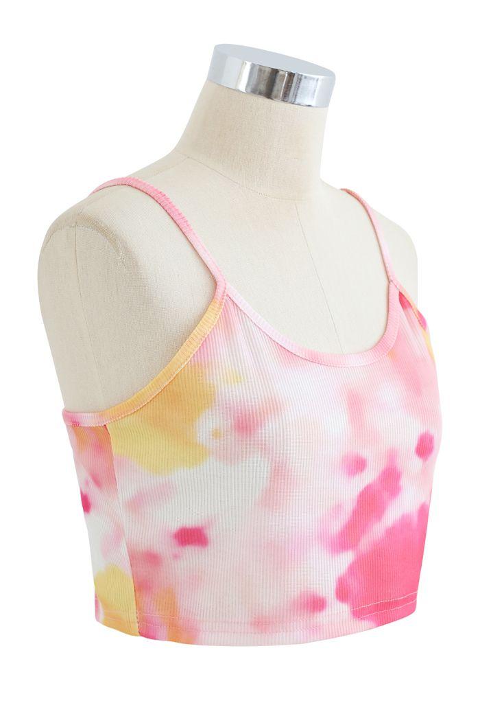 Tie-Dye Crop Tank Top in Pink