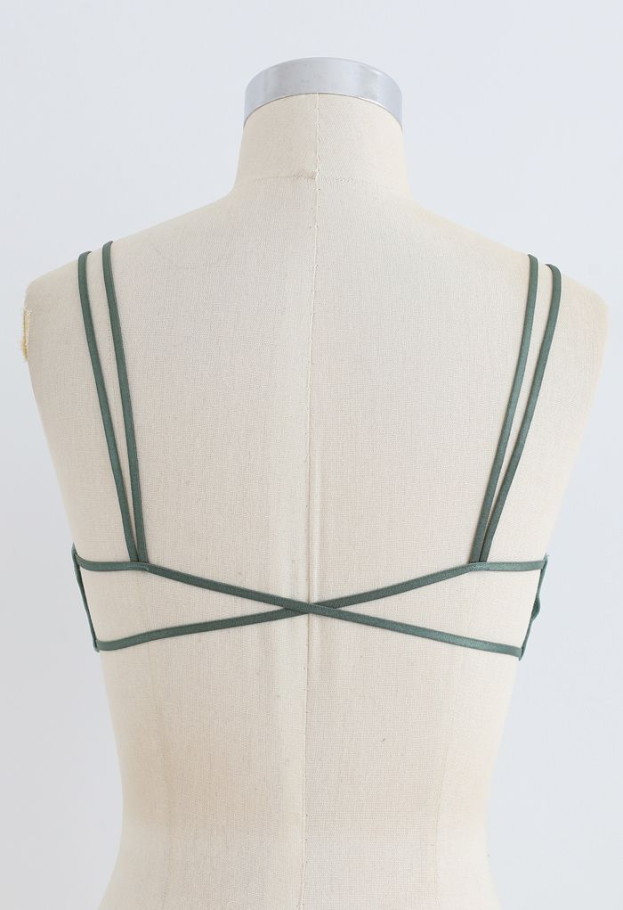Double Straps Crisscross Back Bra Top in Green