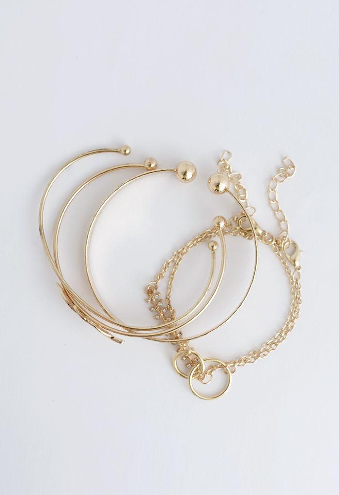5 Packs Metal Leaf Bangle Bracelets