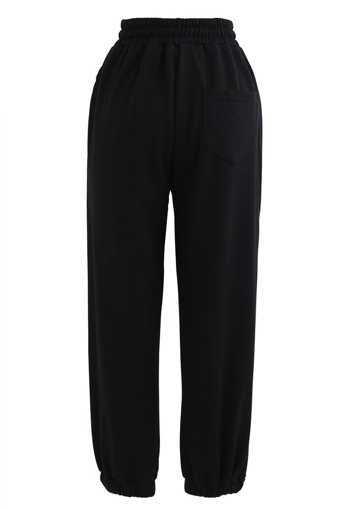 Drawstring Tapered Joggers in Black