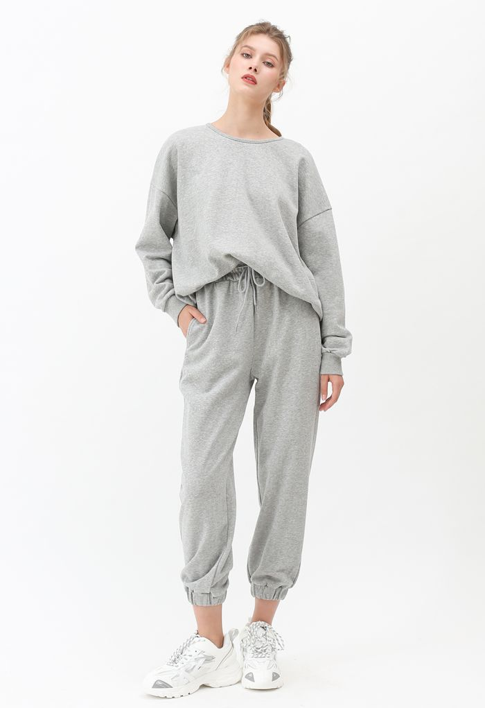 Crisscross Open Back Sweatshirt in Grey