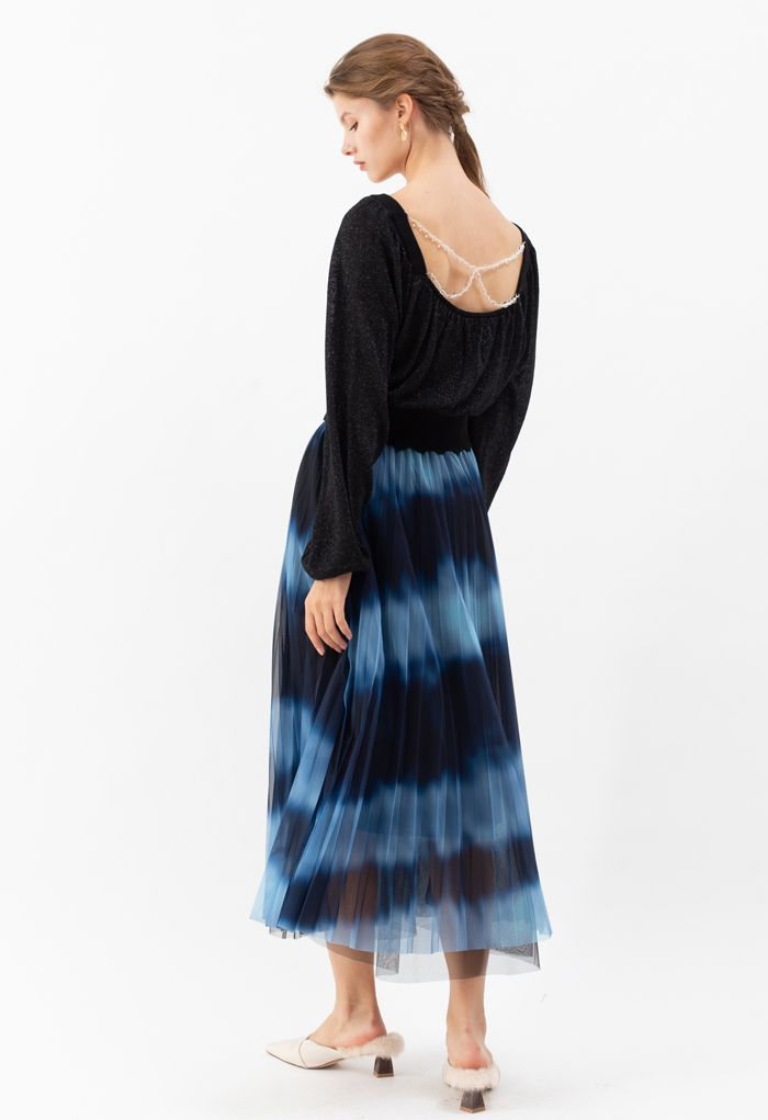 Color-Block Mesh Tulle Pleated Midi Skirt in Blue