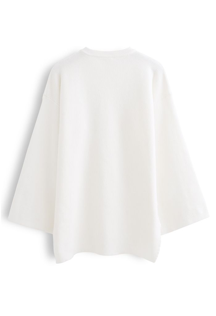 Buttoned Flare Sleeves Knit Sweater in White
