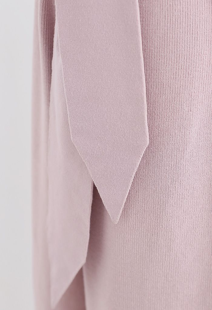 Self-Tie Waist Knit Wide-Leg Pants in Pink