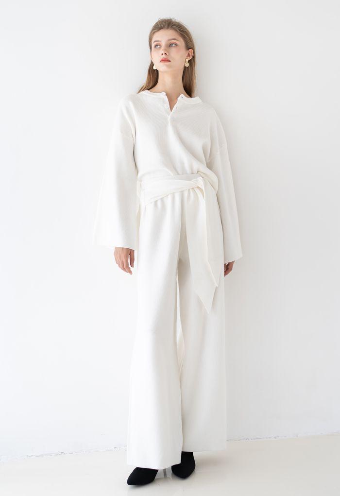 Self-Tie Waist Knit Wide-Leg Pants in White