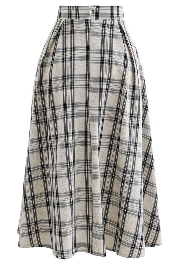 Black Check Button Trim Pleated Skirt