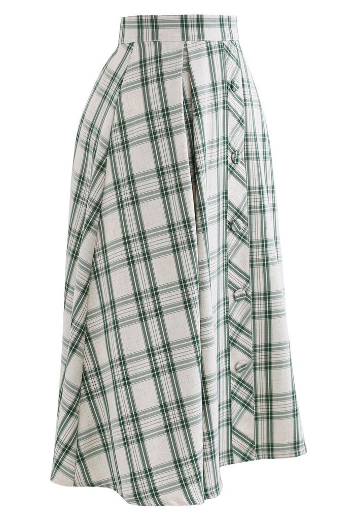 Green Check Button Trim Pleated Skirt