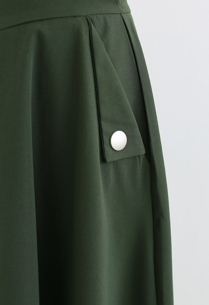 Classic Simplicity A-Line Midi Skirt in Dark Green
