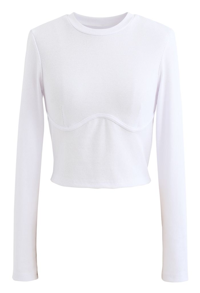 Cotton Long Sleeves White Crop Top