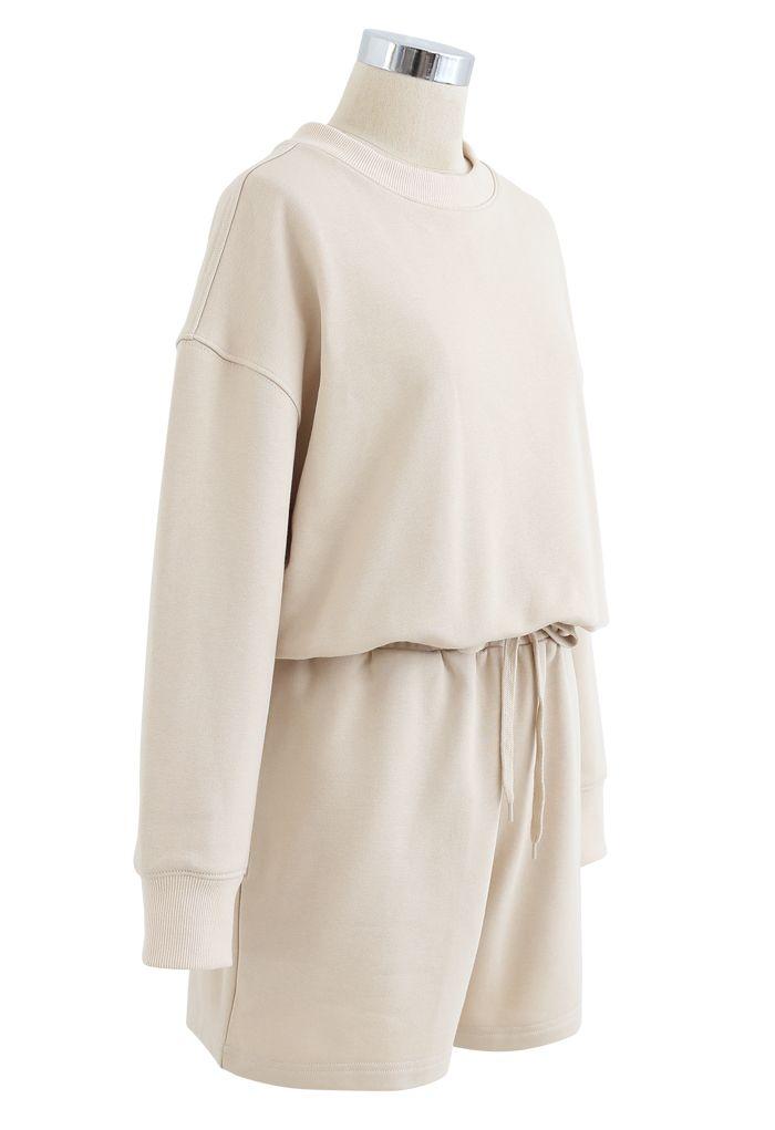 Round Neck Sweatshirt and Drawstring Shorts Set in Cream
