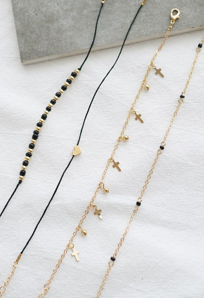 4 Packs Metal Beads Strands Bracelets
