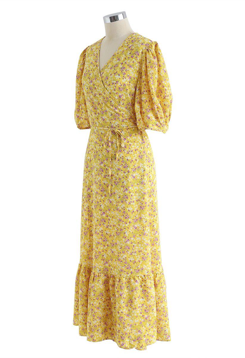 Allured Floret Wrapped Kleid in Senf