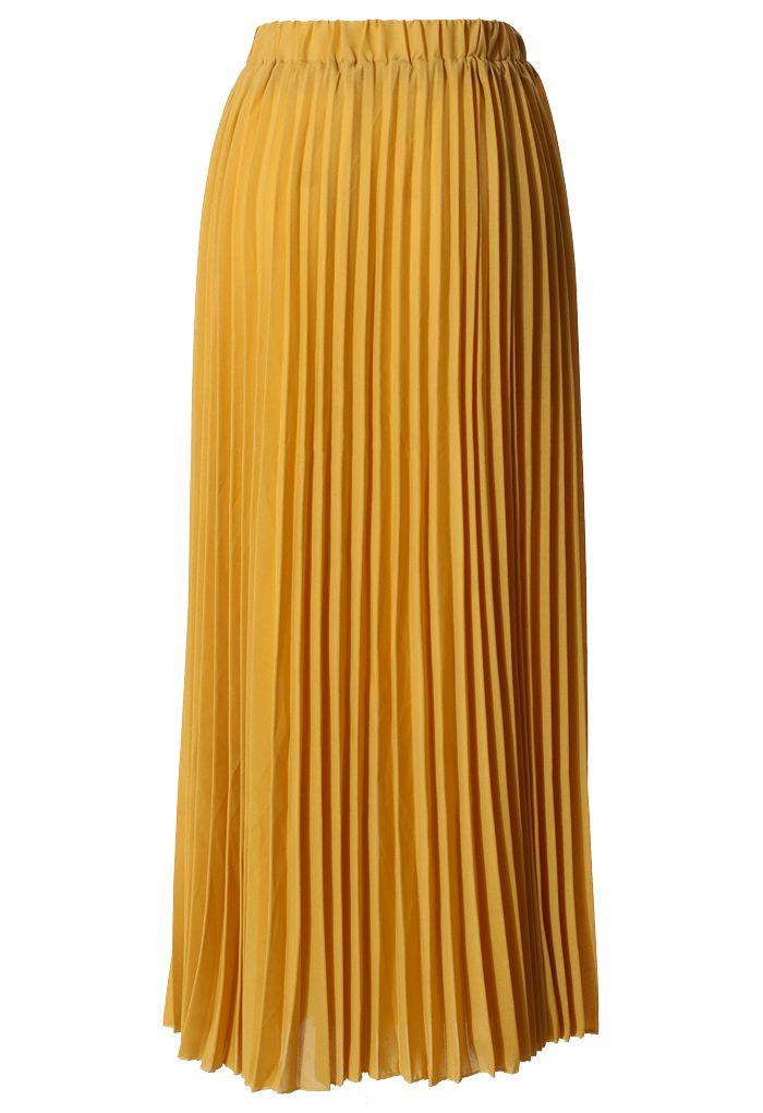 Langer Faltenrock aus Senf-Chiffon