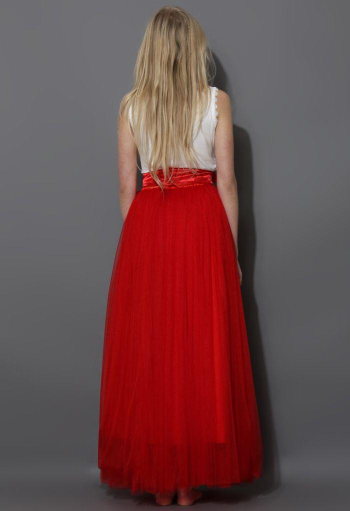Langer Amore Tüllrock in Rot